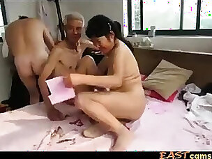 Asian Grandpa Trio everywhere mature woman