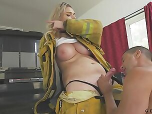 Busty firefighter has a quickie thither a stranger coupled with her Bristols are so juicy